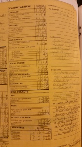 My 3rd grade report card